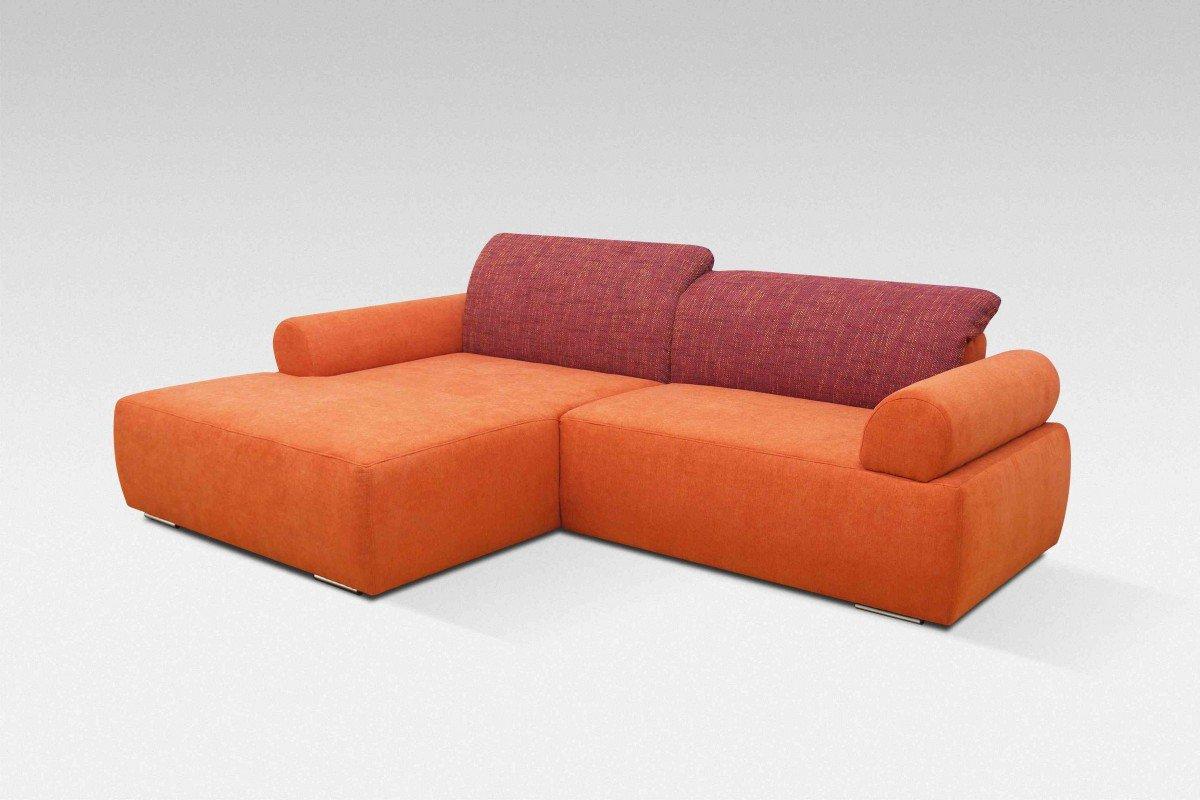Dreams4Home Polstergarnitur, Ecksofa, 'Living', inkl. Rückenfunktion,orange, bordeaux, Webware, Polstermöbel, Couch, Aufbauvariante:Recamiere links davorstehend