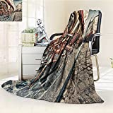 Luminous Microfiber Throw Blanket Paris dec Place du tertre in Montmartre Paris with Street Artists and Paintings Glow in The Dark Constellation Blanket, Soft and Durable Polyester(60''x 50'')