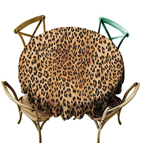 Jbgzzm Dust-Proof Round Tablecloth Animal Print Collection Wild Animal Leopard Skin Pattern Wildlife Inspired Stylish Modern Illustration and Durable D35 Brown Beige]()