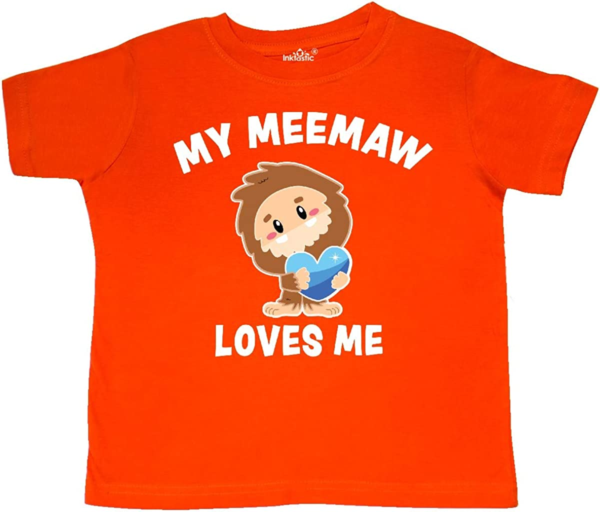 inktastic Cute Bigfoot My Meemaw Loves Me Toddler T-Shirt