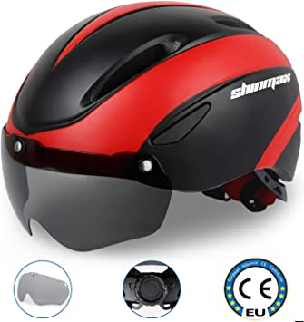 KINGLEAD Compatible con Cascos de Bicicleta, Casco de Bicicleta de Ciclo Ajustable Certificado CE con Gafas de protección magnética Desmontable Visor Shield (Negro Rojo) SavvyGrow: Amazon.es: Deportes y aire libre