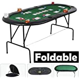 tinkertonk Foldable Poker Table for 8 Players with Drink Holders