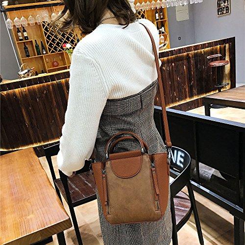 De Shopping De Portátil Handbag Práctico Hombro Moda La Daypack Bolso Personality Ms Retro Brown Crossbody Bolsos CxqRWFU