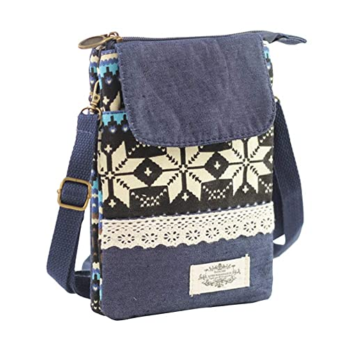 4c7d4b4ec4f2 MyMei Women s Blue Canvas Cell Phone Purse Crossbody Sling Bag with Shoulder  Strap  Amazon.in  Shoes   Handbags