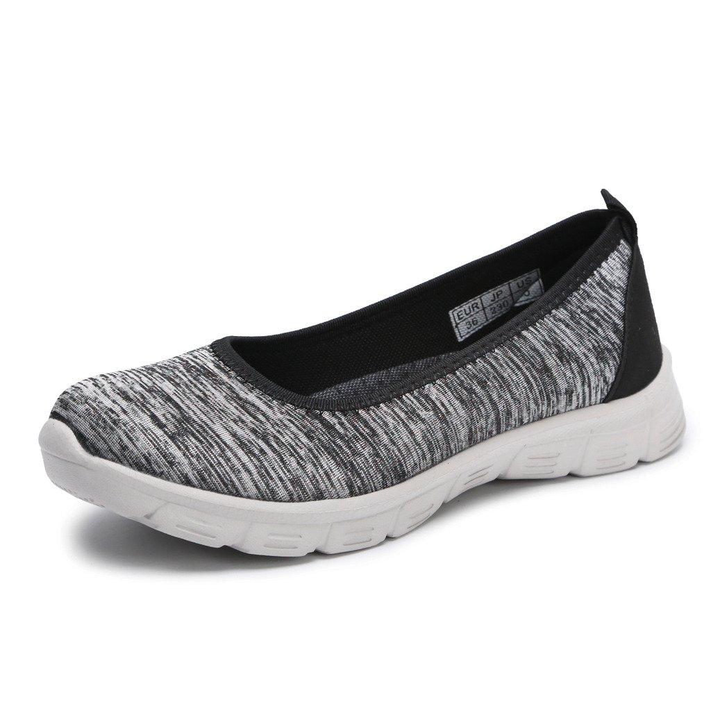 Hawkwell Women's Flexible Slip-on Flat,Grey Fabric,7 M US