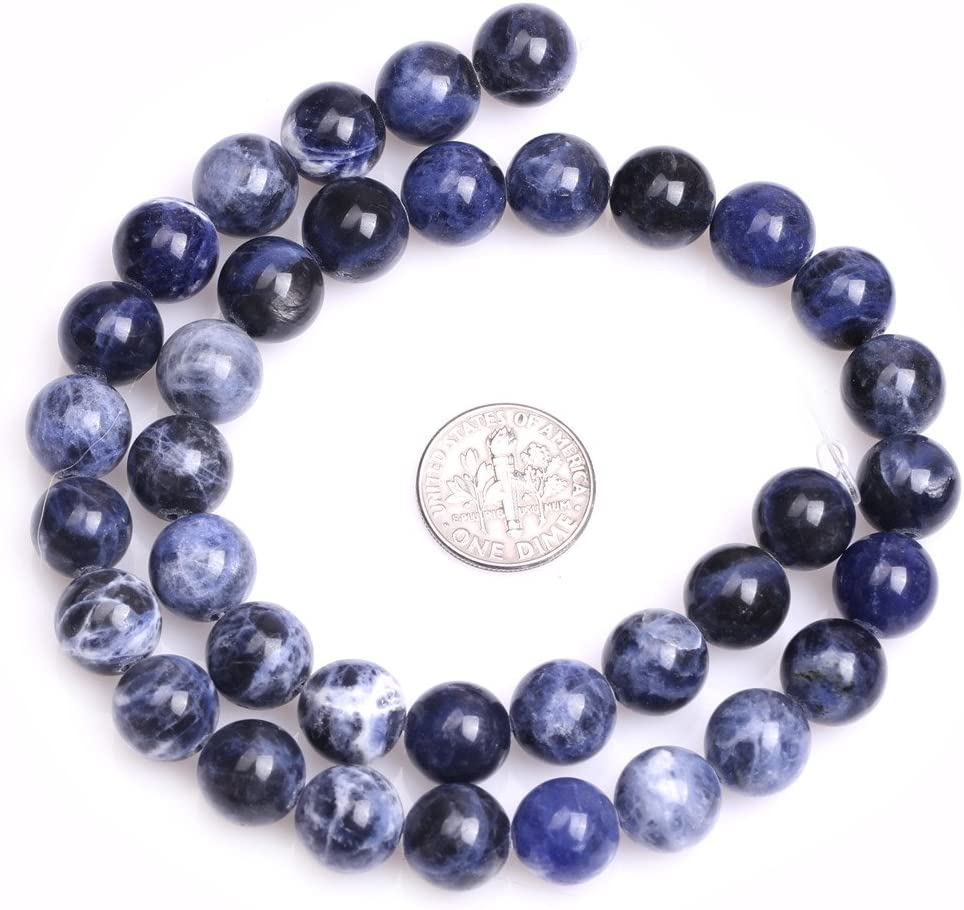 SHGbeads Blue Sodalite Gemstone Loose Beads Natural Crystal Energy Healing Power for Jewellery Making Round 10mm 15