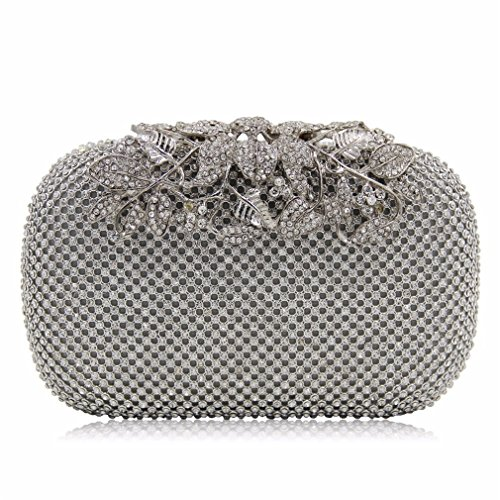 uekj Women Evening Bags Ladies Wedding Party Clutches Purses Silver