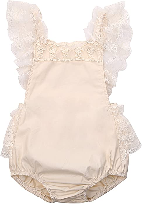 4279447e52d1 Amazon.com  Baby Girls Lovely Ruffle Lace Collar Bodysuit with ...
