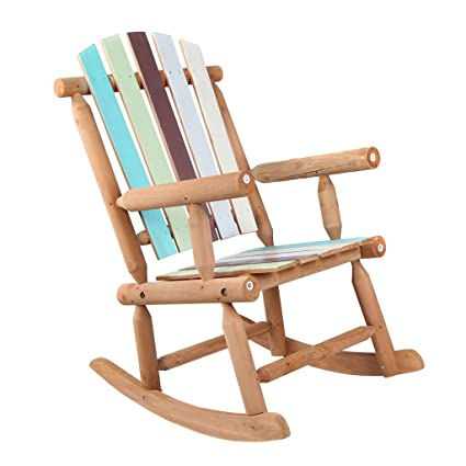 VH FURNITURE Wooden Rocking Chair Large Space Colorful Painted For Patio  And Garden