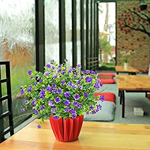 YISNUO Artificial Flowers, Fake Outdoor UV Resistant Plants Faux Plastic Greenery Shrubs Indoor Outside Hanging Planter Home Kitchen Office Wedding, Garden Decor(Purple) 2