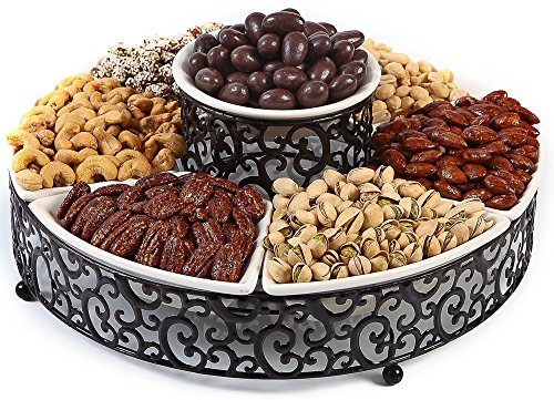 Elegant 7-Piece Section Serving Platter, Ceramic and Pressed Metal, Ideal for Appetizers, Salad, Party Bowl, Relish Dish, Chip and Dip Set. (Dip Relish)