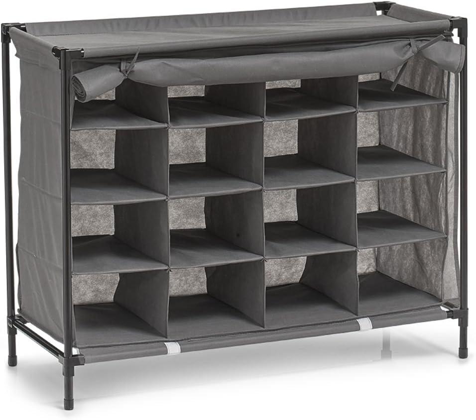 84 x 35 x 66 cm tela Grigio in Tessuto Non Tessuto//Metallo Zeller 14615 Scarpiera a 16 Scomparti grau