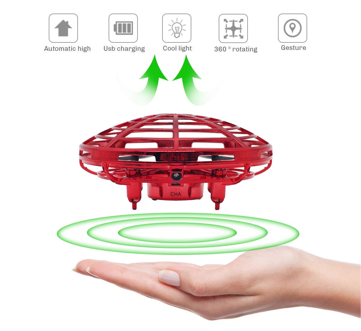 (Red) - Richboom Hand Controlled Mini Drone for Kids Adults Boys Girls Gifts, Red B07KNL8JXK
