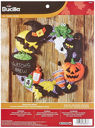 Bucilla Felt Applique Wall Hanging Wreath Kit, 17 by 17-Inch, 86563 Witch's -