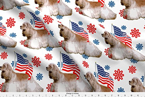 Spoonflower Patriotic Fabric Cocker Spaniel With Flag by Dog