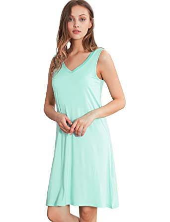 b3ab522ffa0c6 GYS Womens Bamboo Viscose Sleeveless V Neck Nightgown at Amazon ...