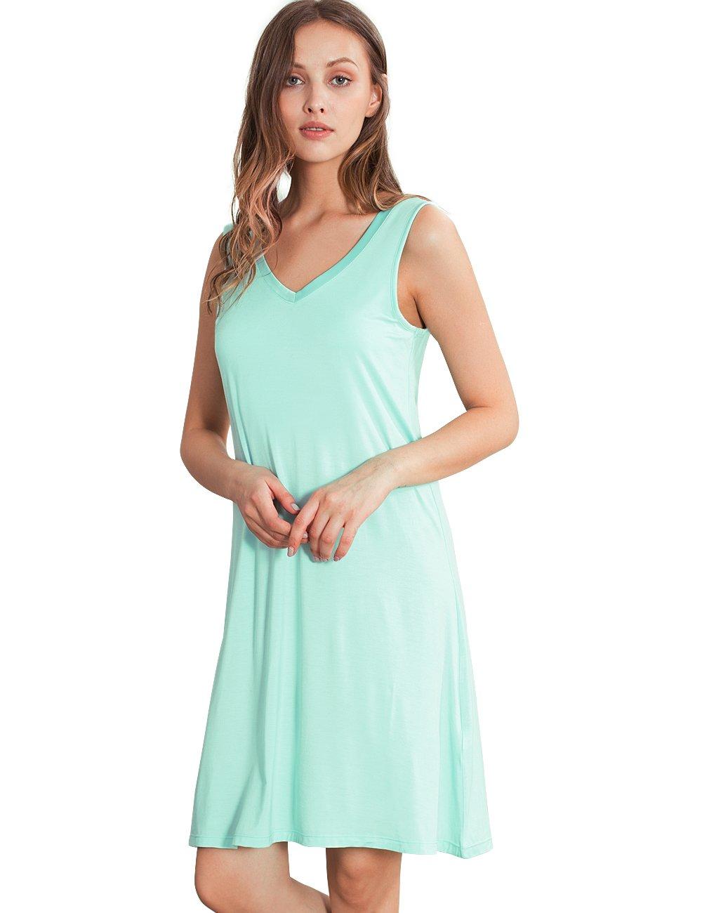 GYS Womens Bamboo Viscose Sleeveless V Neck Nightgown (XXL, Green)