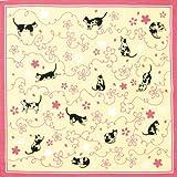 Stampa a mano Miyamoto piccolo furoshiki sakura cat 50 x 50cm 320.141 (japan import)