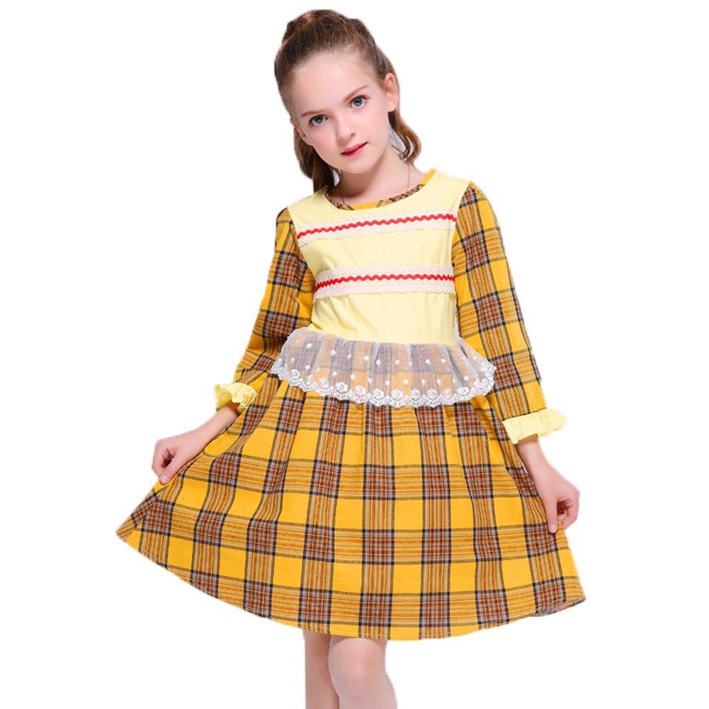 Kseniya Kids Big Little Girls Dresses Plaid Net Lace Petal Sleeve Girl Patchwork Dress