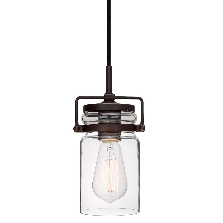 "Kira Home Wyer 8"" Modern Industrial Mini Glass Jar Wired Pendant Light, Energy Efficient, Eco-Friendly, Bronze Finish"