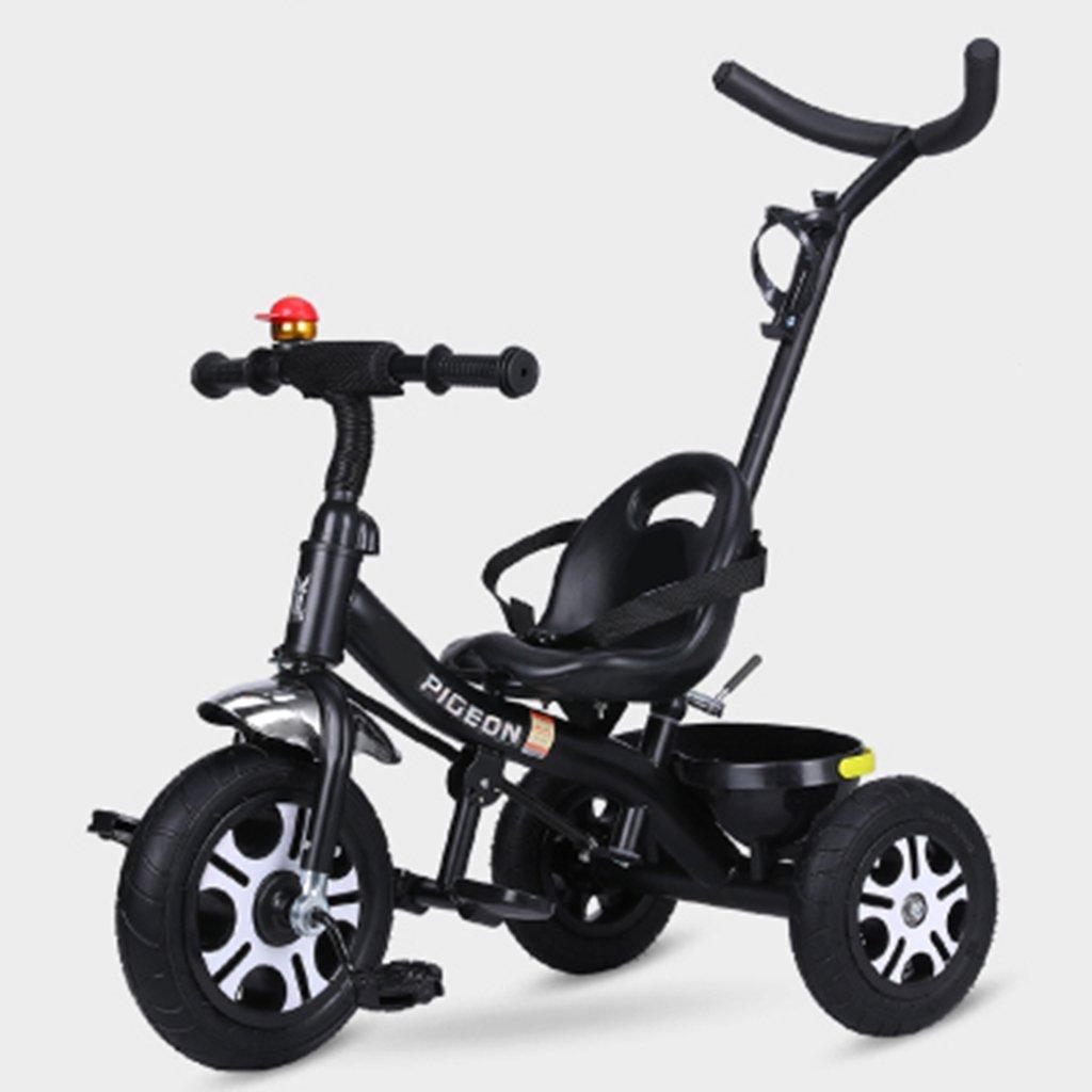 HAIZHEN マウンテンバイク 子供の三輪車1-6歳の軽量自転車非膨張式防爆ショックを吸収する泡ホイールバスケット付きベビーベビーカー 新生児 B07DL8CP8S ブラック ブラック