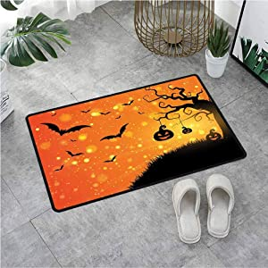 Outdoor Doormat Magical Fantastic Evil Night Icons Swirled Branches Haunted Forest Hill,Doormats For Entrance Way Indoor Washable With Non-Slip Base & Lock Edge 19.7X31.5 Inch,Orange Yellow Black