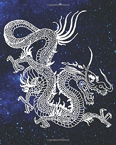 Dragon Bullet Journal: Galaxy Constellation Mythical Creature, 160 Dot Grid Pages, 8 x 10 Blank Bullet Journal Notebook with 1/4 inch Dotted Paper, Perfect Bound Softcover for Men (Wheel Constellation)