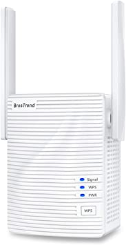 BrosTrend - Extensor WiFi de 1200 Mb/s, amplificador de señal repetidor, añade una cobertura de hasta 111,5 m2 a tu hogar, Wi-Fi 2,4 GHz y 5 GHz, ...