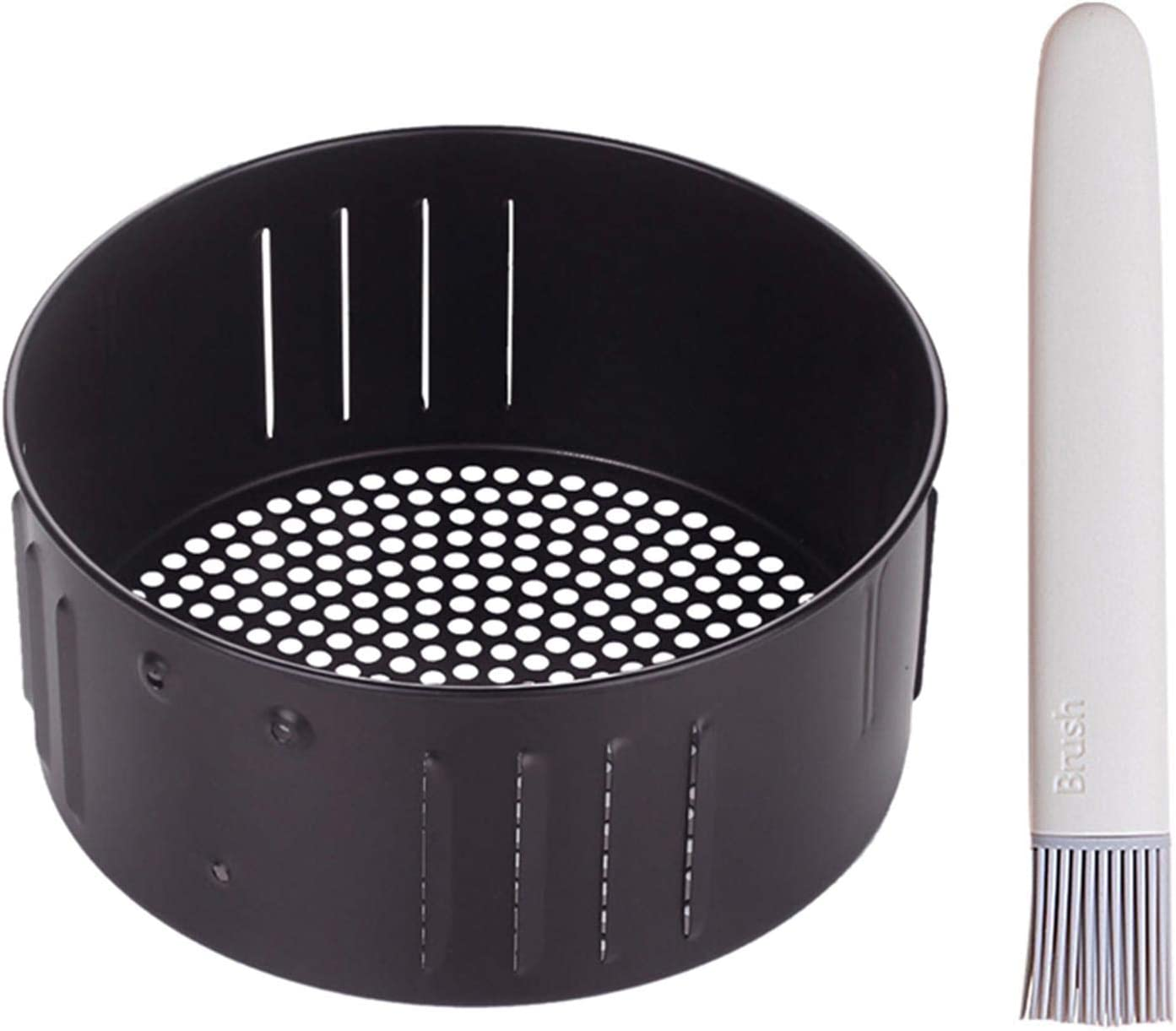 Air Fryer Replacement Basket 2.7QT Universal Non Stick Round Cooking Cast Iron Baking Tray, Kitchen Roasting Tin Cooking Drain Oil Baking Tray (2.6 L)