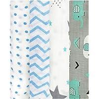 linenaffairs Kid's Organic Muslin Cotton Zigzag, Polka, Star and Elephant Swaddle Wrap (Blue, 120 X 120 cm)- Pack of 4
