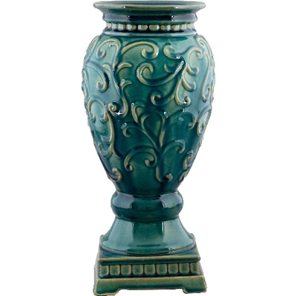 Home decor. Aqua Green Vase. Dimension: 7.45 x 7.45 x 15.5. Pattern: Aqua Majolica.
