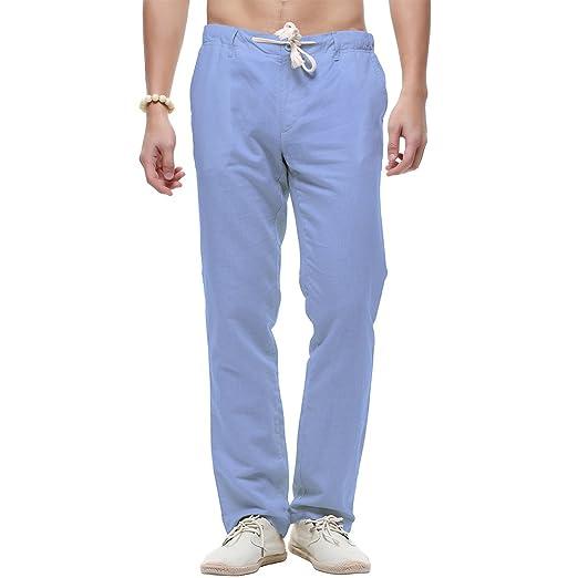 crazyplayer Sommer Leinenhose Chinohose für Herren Herren Arbeitshose in Leichter Qualität Straight Fit in weiß schwarz Khaki