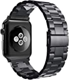Simpeak Band Compatible with iWatch 42mm 44mm, Match 2pc Links, Stainless Steel Wirstband for iWatch Series 5 4 3 2 1, Black