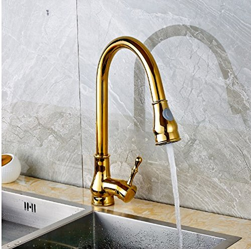 Gowe Gold Deck Mounted Kitchen Sink Faucet Swivel Spout Pull Out Mixer Tap Countertop Mixer Tap With Cover Plate
