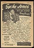 1948 Spike Jones & His Musical Revue Promo Original Print Ad (Music Memorabilia) (10178)
