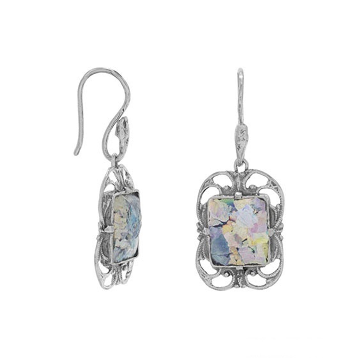Ancient Roman Glass Earrings with Scroll Design Border