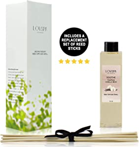 LOVSPA SOOTHE Tahitian Vanilla Reed Diffuser Oil Refill and Replacement Reed Sticks | SOOTHE | Vanilla, Amber & Tonka Bean Fragrance Oil | Soothing Scent for Kitchen & Bathroom, 4 oz| Made in the USA