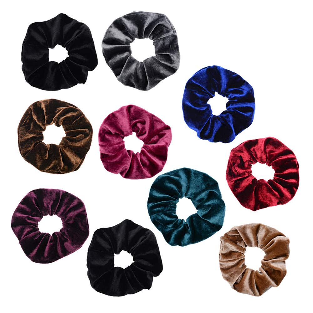 10 Pack Assorted Velvet Hair Ties Scrunchy for Hair Women Elastic Hair Ropes Scrunchies PIDOUDOU Fashion