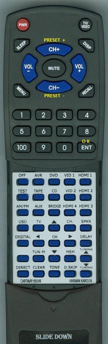 Replacement Remote Control for Harman KARDON CARTAVR1650HK, AVR165, AVR1650