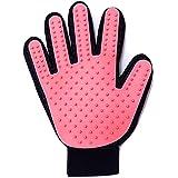 EVELTEK ペット ブラシ 手袋 マッサージブラシ グローブ 犬と猫に使える お手入れ 抜け毛 毛玉除去 (ピンク色)