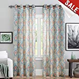 jinchan Medallion Linen Blend Curtains for Living Room 84 Inch Length Drapes Damask Pattern Flax Draperies Window Treatments for Sliding Glass Doors Bedroom Curtain Panels (1 Pair, Green)
