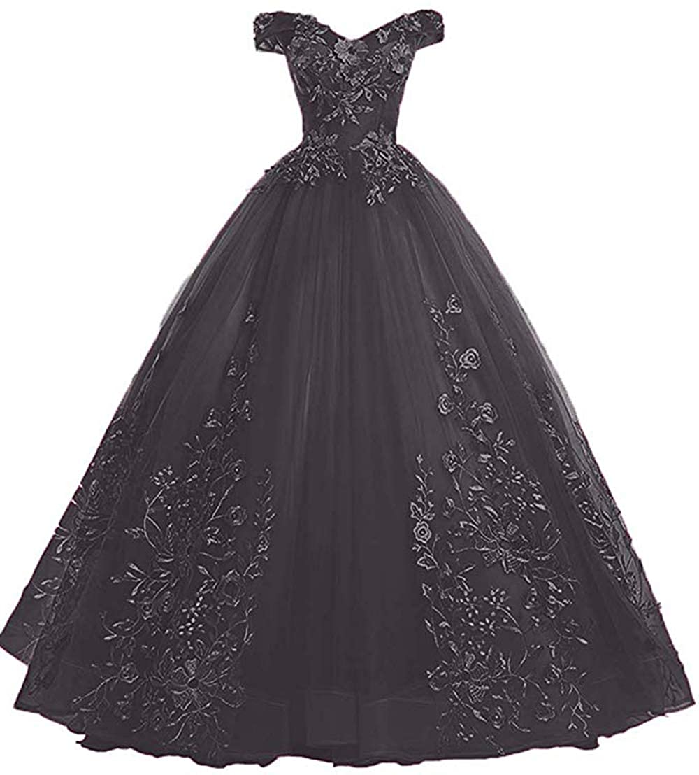 Black Womens Off Shoulder Quinceanera Dresses Lace Applique Beaded Prom Dresses A Line Tulle Evening Formal Gowns