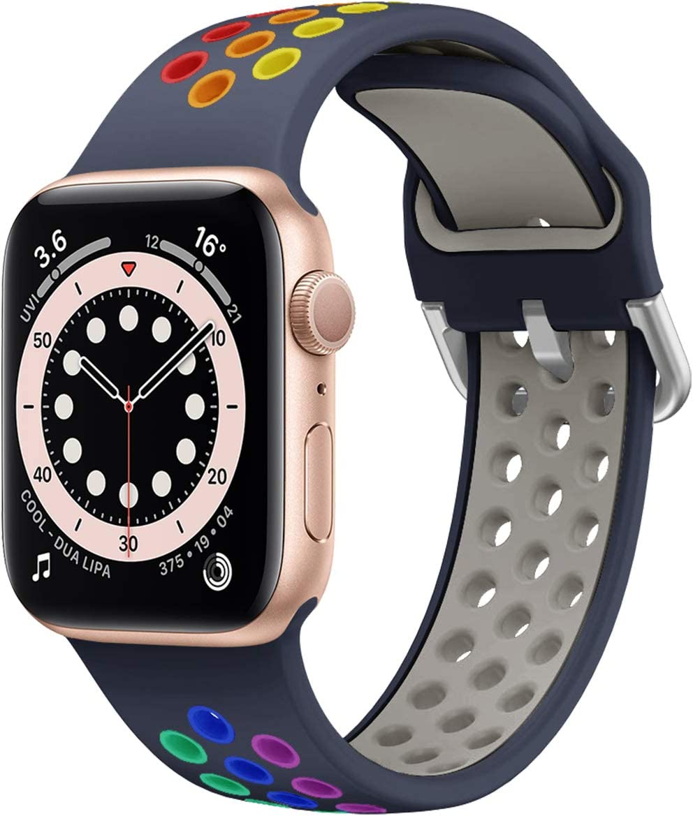 Syxinn Compatible with Apple Watch Bands 38mm 40mm 42mm 44mm, Soft Silicone Strap Breathable Colorful Holes Sport Compatible with iWatch Series 1/2/3/4/5/6 SE