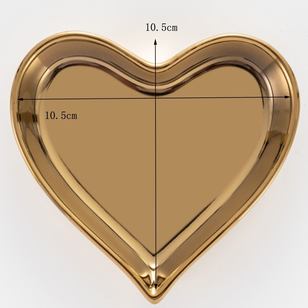 Ceramic heart shape ring dish holder Jewelry tray trinket holder for Home Decor Dish Wedding Birthday Xmas Gift (brass color) by QILICHZ (Image #2)