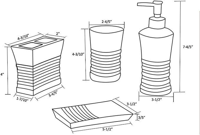 Toothbrush Holder /& Tumbler 5855083 Soap Dispenser LUANT 5 Pices Bathroom Accessory Set Resin Soap Dish
