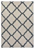 Trellis Ivory (Off-white) Grey Shag Area Rug Rugs Shaggy Collection (Ivory (Off-white), 5'x7′)