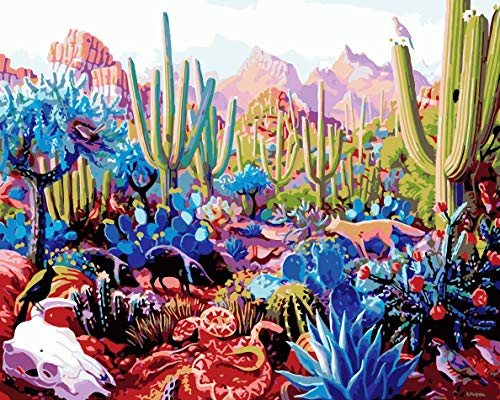 (Diy Oil Painting Paint by Number Kit for Adult Kids - Colorful Desert Cactus 16X20 Inch,Framed)