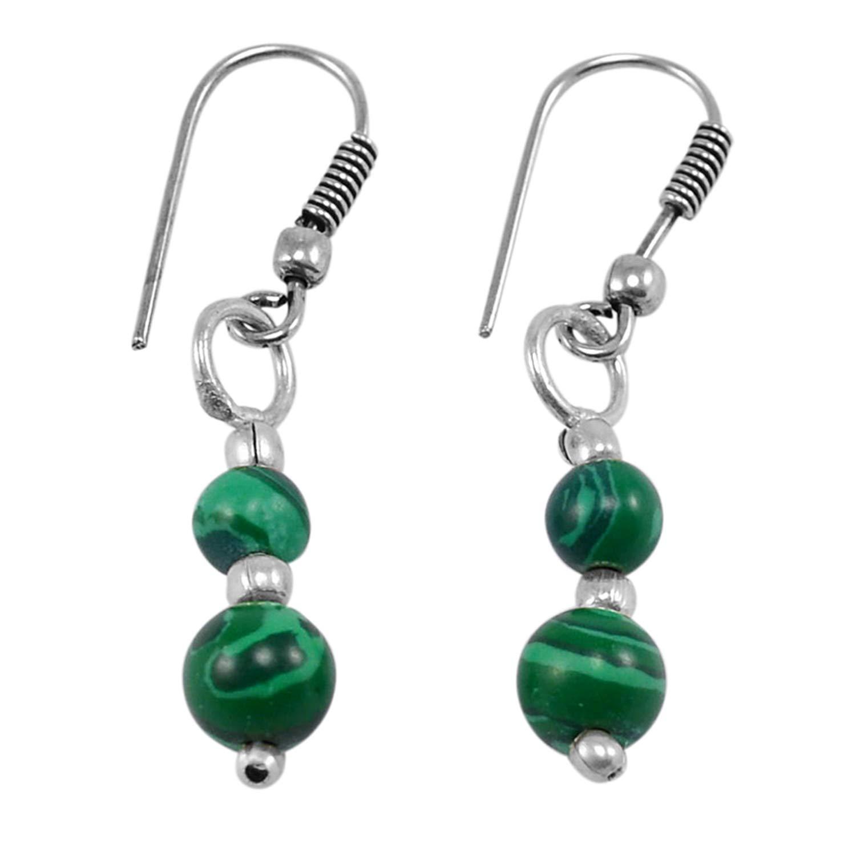 3.8 Centimeter Silvestoo Jaipur Green Malachite Gemstone 925 Silver Plated Dangle Earring length size