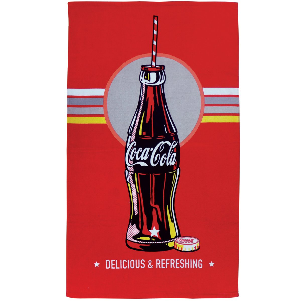 Coca-Cola 043422 Bath towel, cotton suede, bottle, 70 x 120 cm Coca Cola