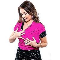 Fular elástico/Baby wrap (portabebés), rebozo para múltiples amarrados y posiciones, 100% algodón respirable con spandex, para bebés de 0 a 15 kg (rosa)